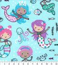 Snuggle Flannel Fabric-Princess Mermaids