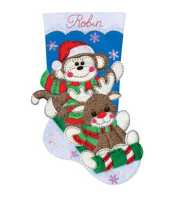 Design Works Sock Monkey Stocking Felt Applique Kit