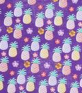 Novelty Cotton Fabric-Pineapples on Purple