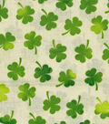 St. Patrick\u0027s Day Cotton Fabric-Watercolor Shamrocks on Cream