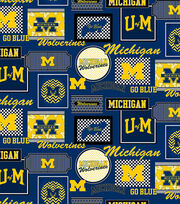 "University of Michigan Wolverines Cotton Fabric 44""-Packed Patches, , hi-res"