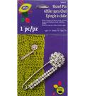 Glitz Shawl Bar Pin with Stone Cluster Silver/Clear