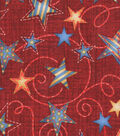 Holiday Inspirations Patriotic Fabric- Stars On Scrolls Red
