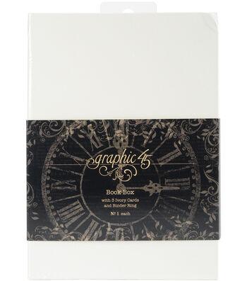 "Graphic 45 Staples Tag Album Book Box-Ivory 7.1""X5""X2.5"""