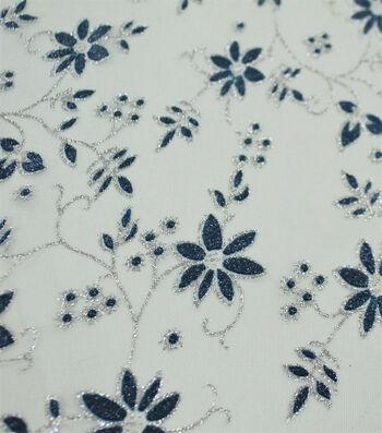Let's Pretend Mesh Fabric-Green & Blue Glitter Starflower