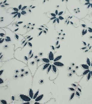 Let's Pretend Mesh Fabric-Blue Glitter Starflowers