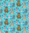 Novelty Cotton Fabric-Happy Dogs Aqua Glitter