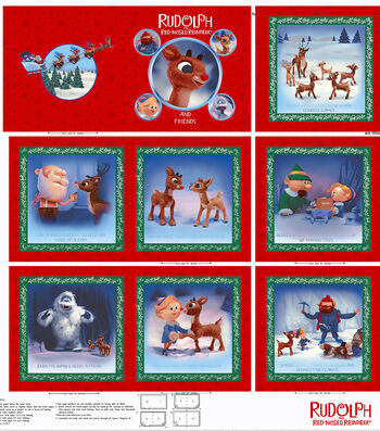 Christmas Cotton Fabric -Rudolph Book Panel