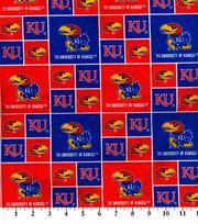 University of Kansas Jayhawks Cotton Fabric 43''-Block, , hi-res