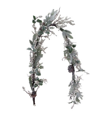 Blooming Holiday Christmas 66'' Frosted Holly, Berry & Pinecone Garland