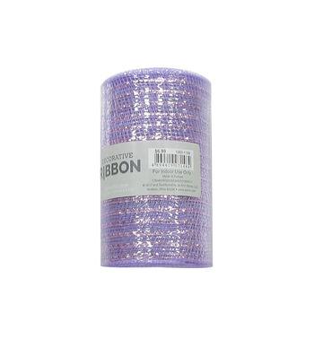 Decorative Ribbon Metallic Deco Mesh 5.5''x10 yds-Lavender