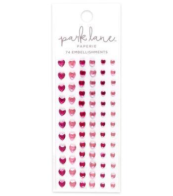 Park Lane 74 pk Heart Gem Embellishments-Pink