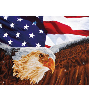 "Diamond Embroidery Facet Art Kit 25.5""X35.5""-Bald Eagle & Flag"