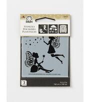 FolkArt 3 Pack 3''x3'' Stencils-Fairies & Mushrooms, , hi-res