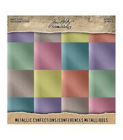 """Tim Holtz Idea-Ology Kraft Metallic Paper Pad 8""""X8"""" 36/Pkg-Confections, , hi-res"""