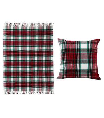 Maker's Holiday Christmas Pillow & Throw-Tartan Plaid
