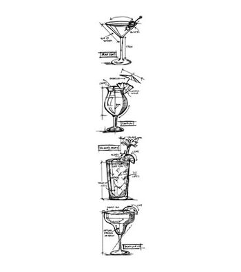 """Tim Holtz Cling Stamps 3""""X10""""-Cocktails"""