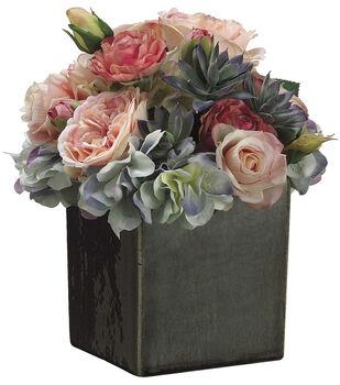 Bloom Room Luxe 10'' Hydrangea, Rose & Ranunculus In Ceramic Pot-Pink