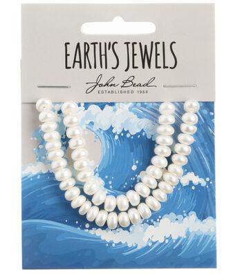 John Bead Earth's Jewels Freshwater Pearls Semi Round-6mm