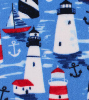 "Anti-Pill Fleece Fabric 59""-Painted Lighthouses"