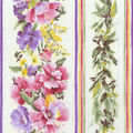 Premium Cotton Fabric-Floral Stripe on Ivory