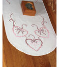 Fairway Stamped Perle Edge Dresser Scarf Three Hearts