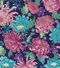 Asian Inspired Cotton Fabric 43\u0027\u0027-Metallic Large Floral