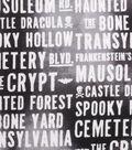 Halloween Cotton Fabric -Haunting Words