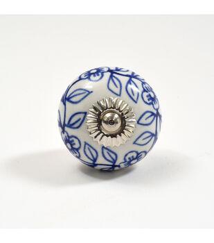 Dritz Home Ceramic Delft Ball Knob-Blue