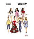 Simplicity Pattern S8865 11 1/2\u0027\u0027 Fashion Doll Clothes