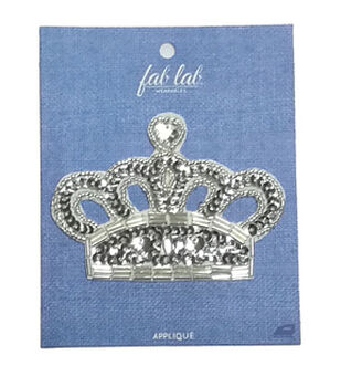 Fab Lab 4.87''x3.87'' Gem Crown Iron-on Applique Patch-Silver