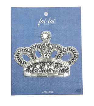 Fab Lab 4.87''x3.87'' Gem Crown Iron-on Applique Patch-Silver