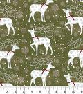 Christmas Cotton Fabric -Deer and Flakes
