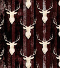 Snuggle Flannel Fabric-Stag Head On Wood