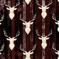 Snuggle Flannel Fabric-Stag Heads on Wood