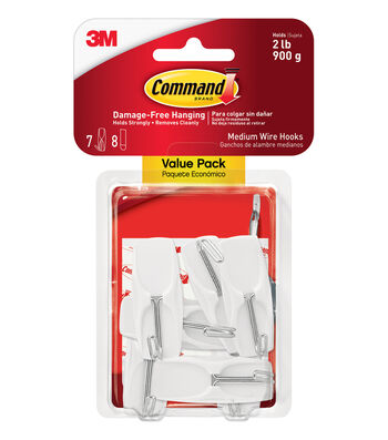 Command Medium Wire Toggle Hooks Value Pack-White