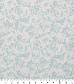 Keepsake Calico Cotton Fabric-Light Blue Pearl Roses