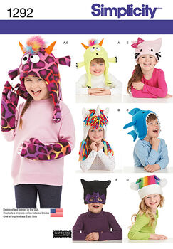 Simplicity Pattern 1292A Child's Hat & Mittens-Size S-M-L