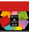 Black Ink 42 pk 6\u0027\u0027x6\u0027\u0027 Vellum Origami Papers-Colored