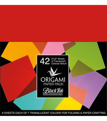 Black Ink 42 pk 6''x6'' Vellum Origami Papers-Colored