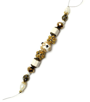 """Jesse James 7"""" Strung Beads-Roman Metal Rose & Column Beads"""