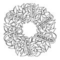Spellbinders Zenspired Holidays Rubber Cling Stamp-Sentiments Wreath
