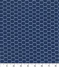 Quilter\u0027s Showcase Cotton Fabric 44\u0027\u0027-Hexagon Wire on Navy