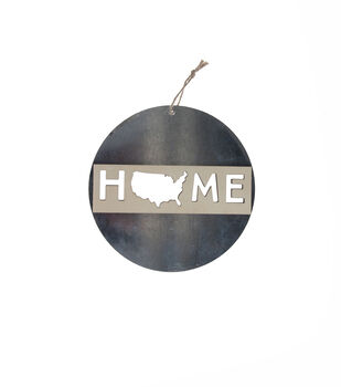 Camp Ann Crafts Galvanized Round Surface with Wood Laser Cutout-Home