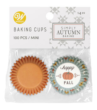 Wilton Simply Autumn Mini Baking Cups-Orange Pumpkin