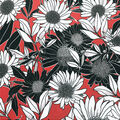 Knit Prints Double Brushed Fabric-Red, Black & White Sunflower