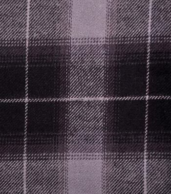 Shirting Cotton Fabric -Black & Gray Ombre Plaid