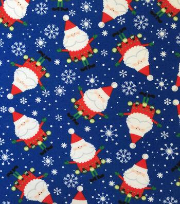 "Doodles Christmas Cotton Fabric 57""-Royal Blue Santa"