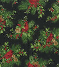 Christmas Cotton Fabric 44\u0022-Holiday Cardinal in Holly