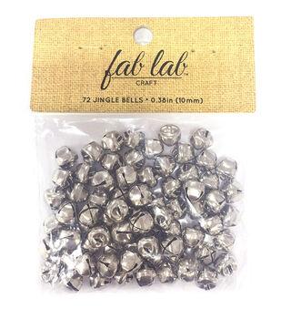 Fab Lab Craft 72 pk 0.38'' Jingle Bells-Silver